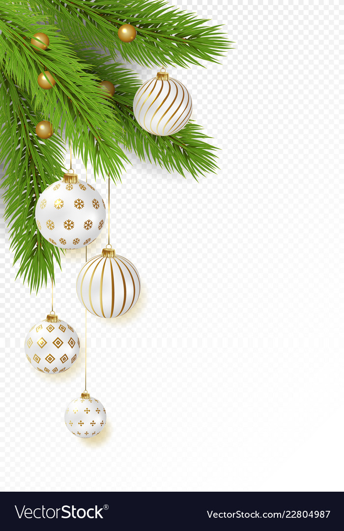 Christmas tree branches with hanging gold and