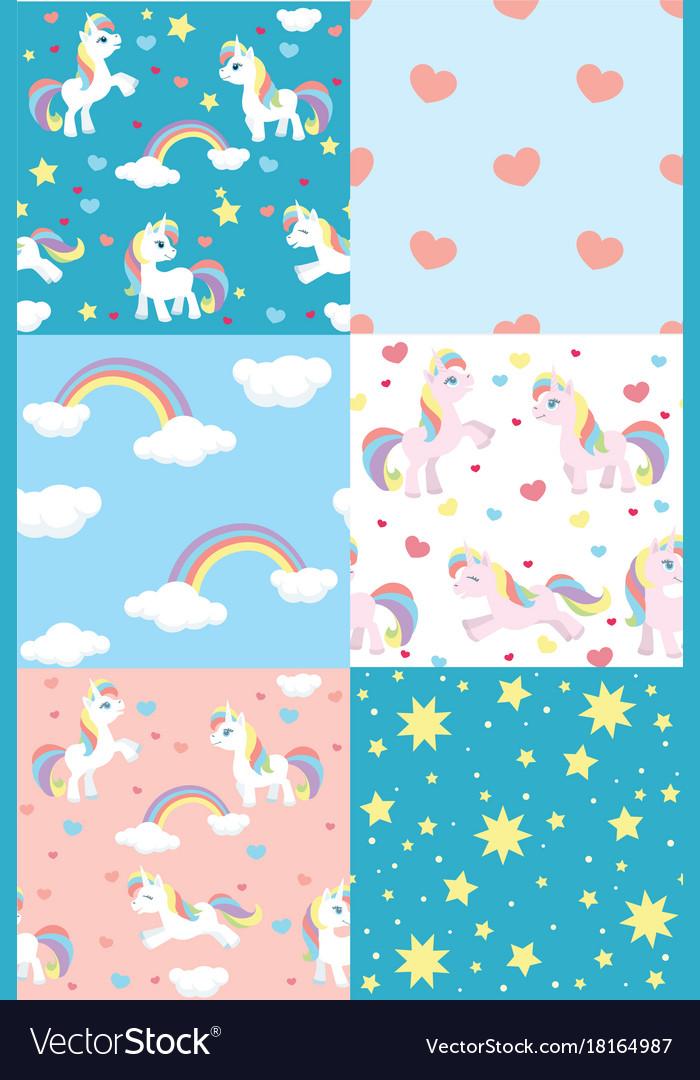 Cute unicorn pattern set vector image