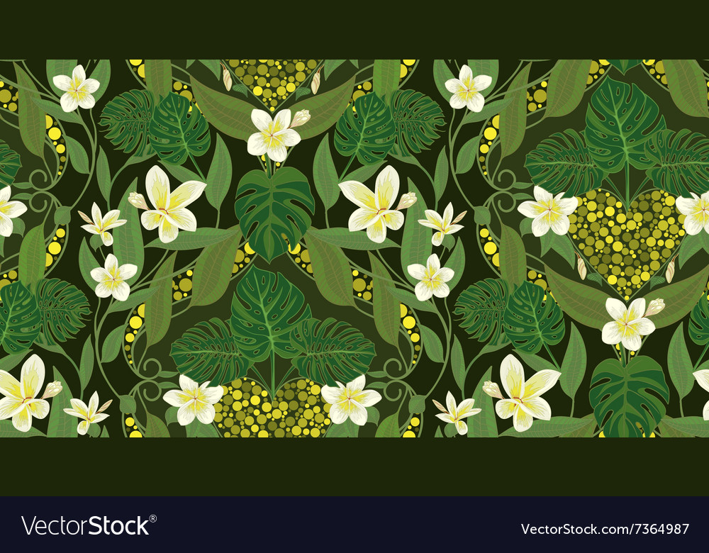 Deco seamless pattern with flowers frangipani and