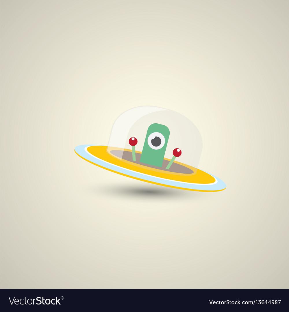 Flat funny orange alien spaceship logo