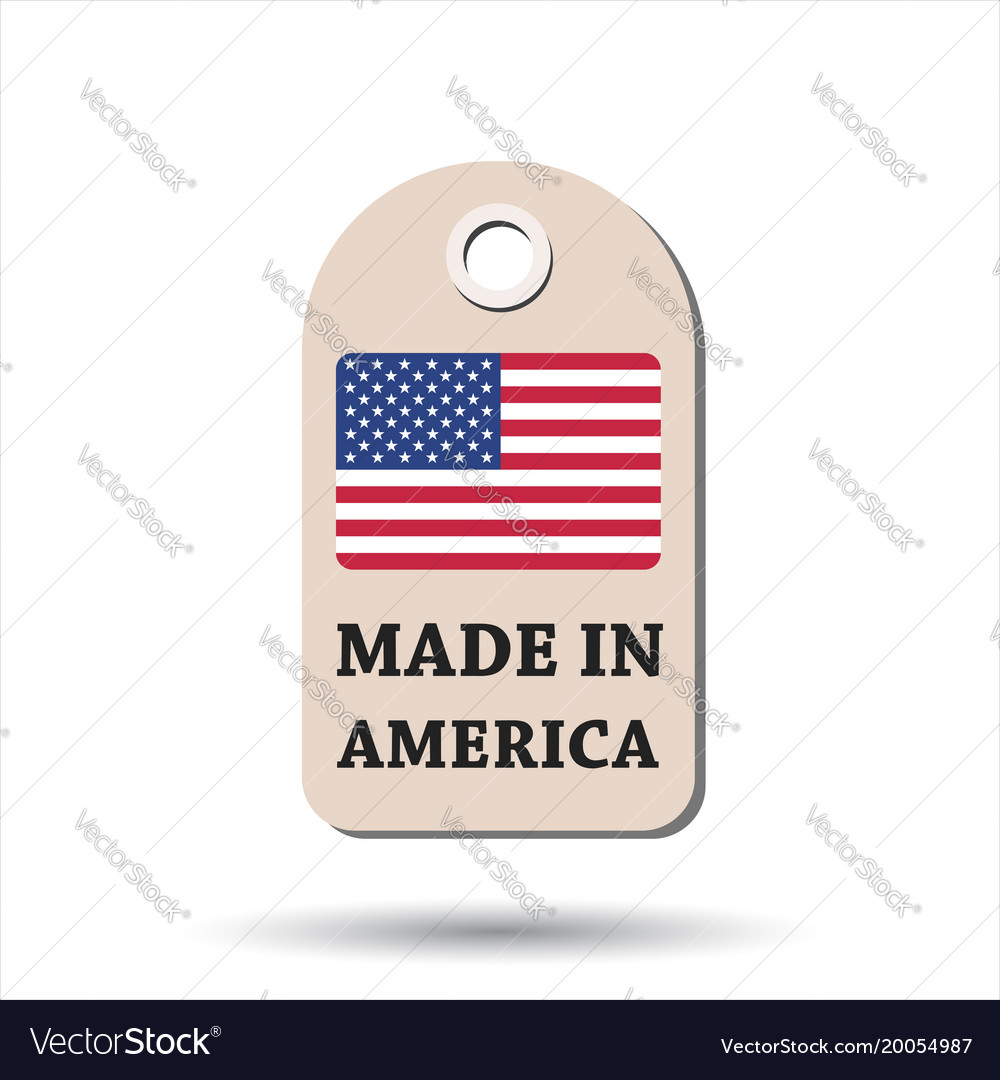 Hang tag made in america with flag on white