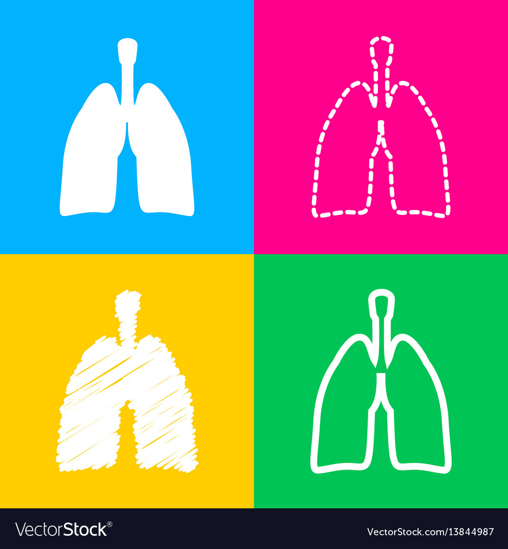 Human organs lungs sign four styles of icon on vector image