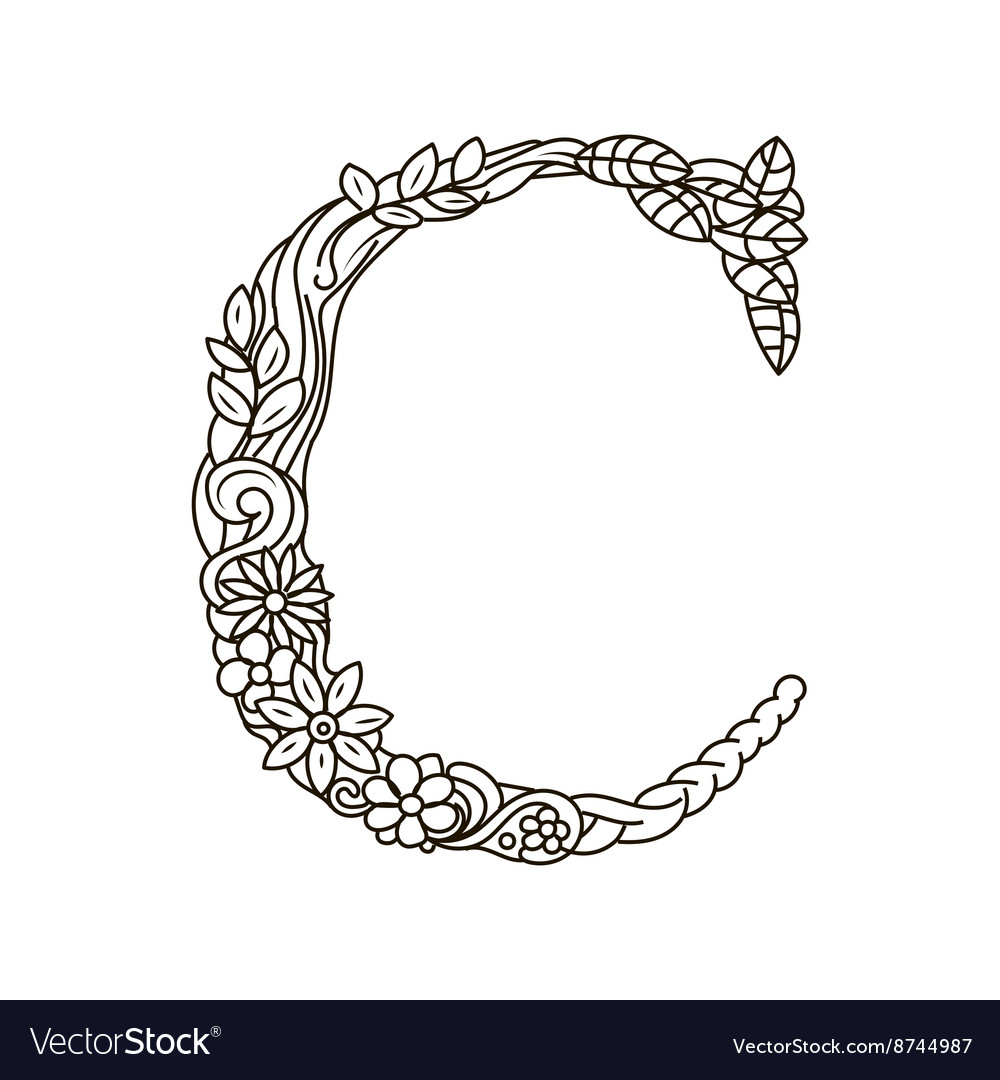 Letter C coloring book for adults