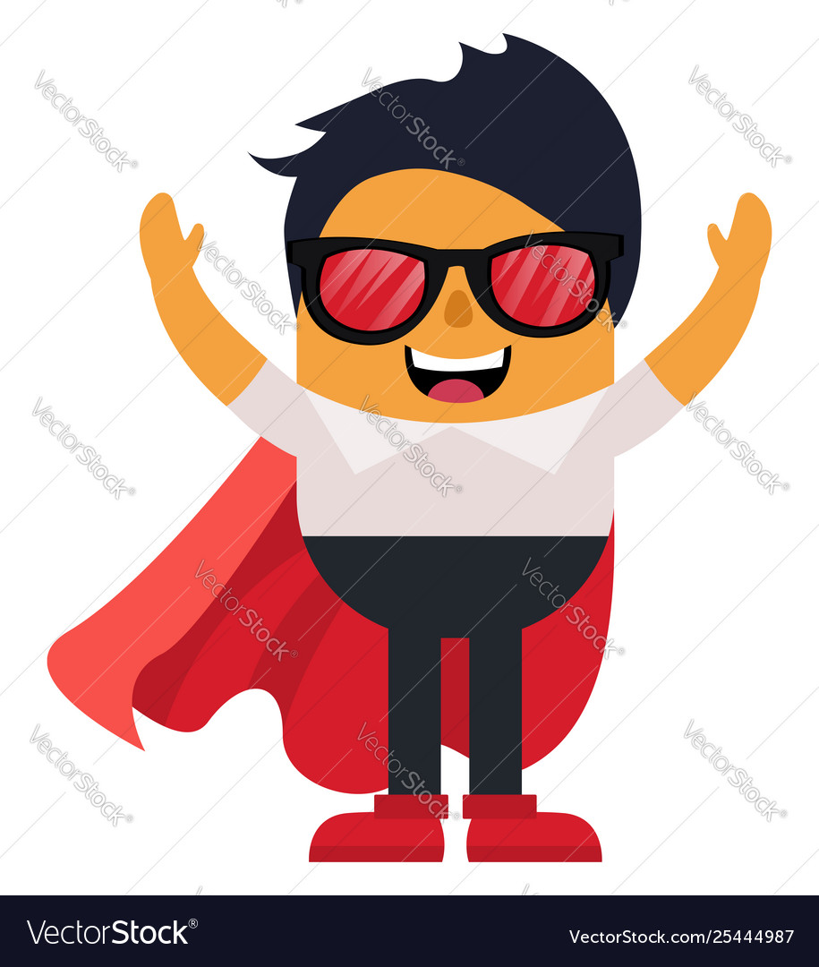 Man with cape and glasses on white background