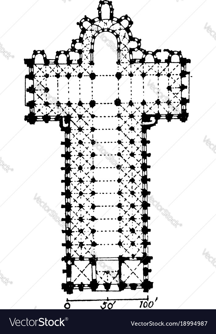 Section of notre-dame du port large churches vector image