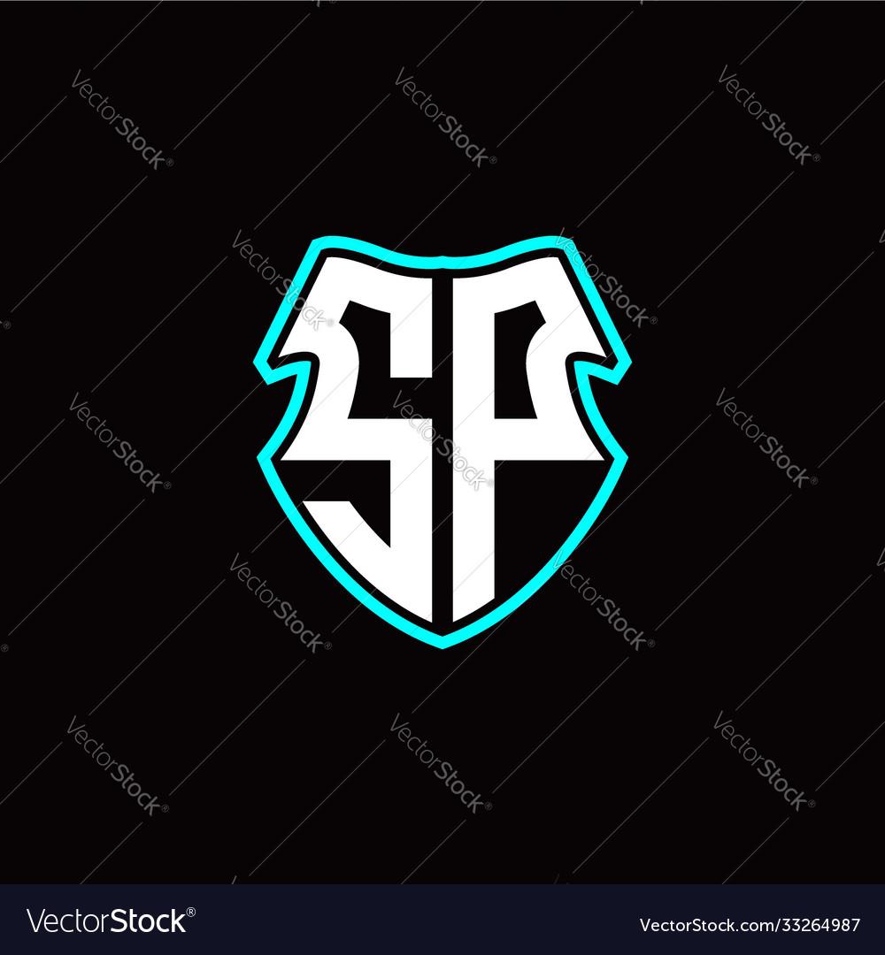 Sp initial logo design with a shield shape