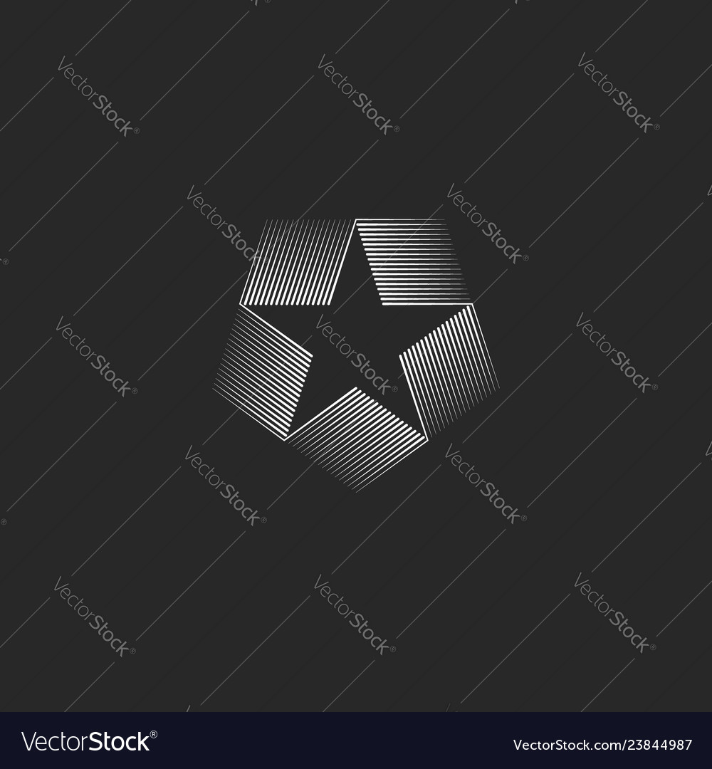 Star shape inscribed in pentagon logo geometric