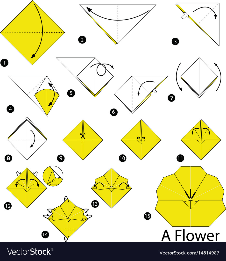 Step instructions how to make origami a flower