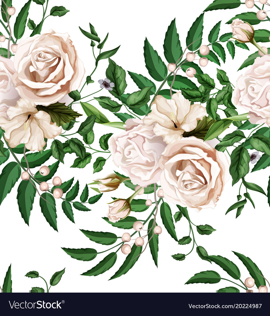 Watercolor rose bouquet seamless pattern