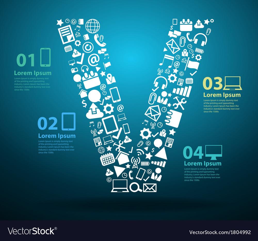 Application icons alphabet letters V design vector image