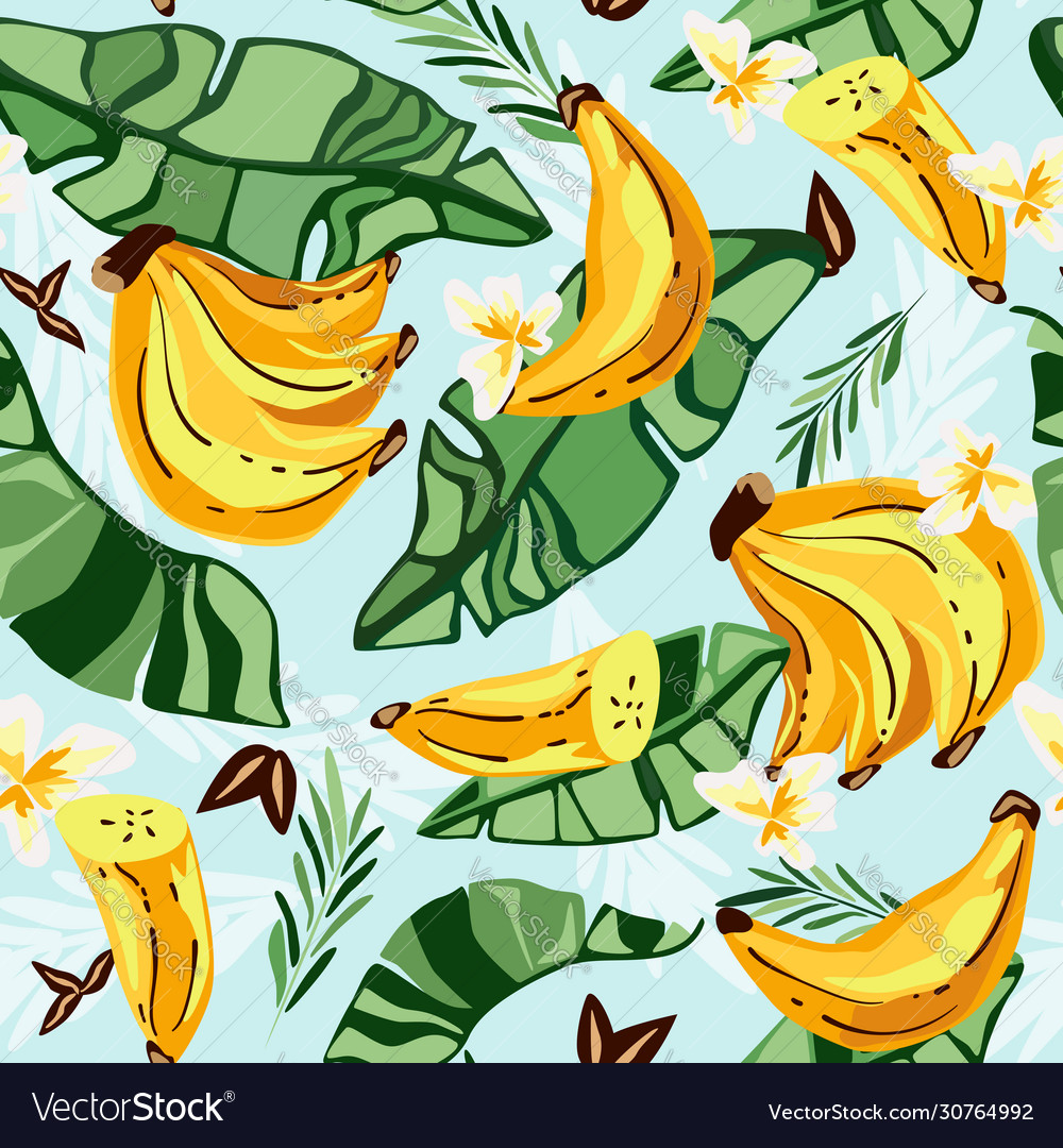 Banana seamless patterntropical fruit and