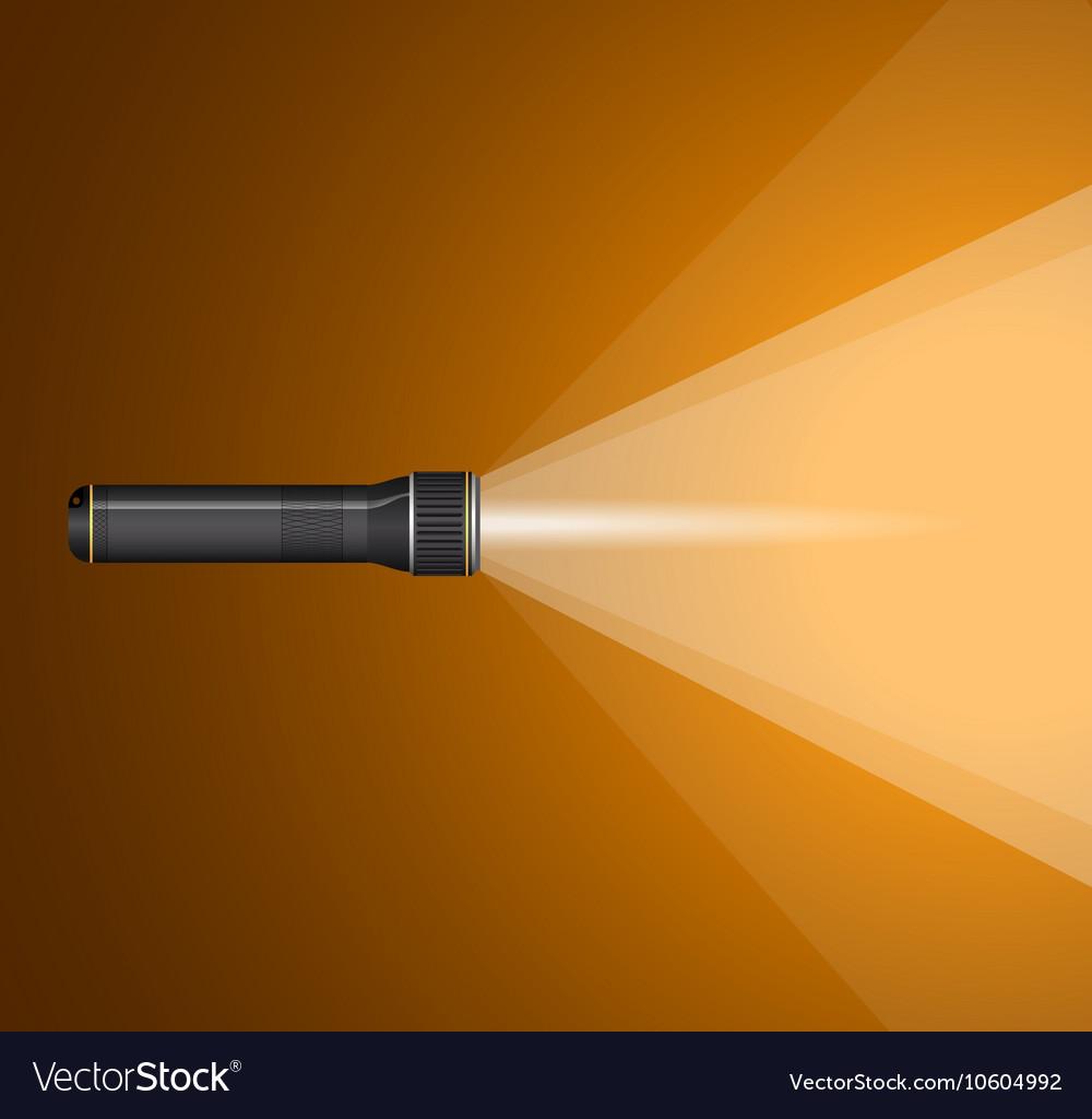 Beam of light from flashlight Black metal