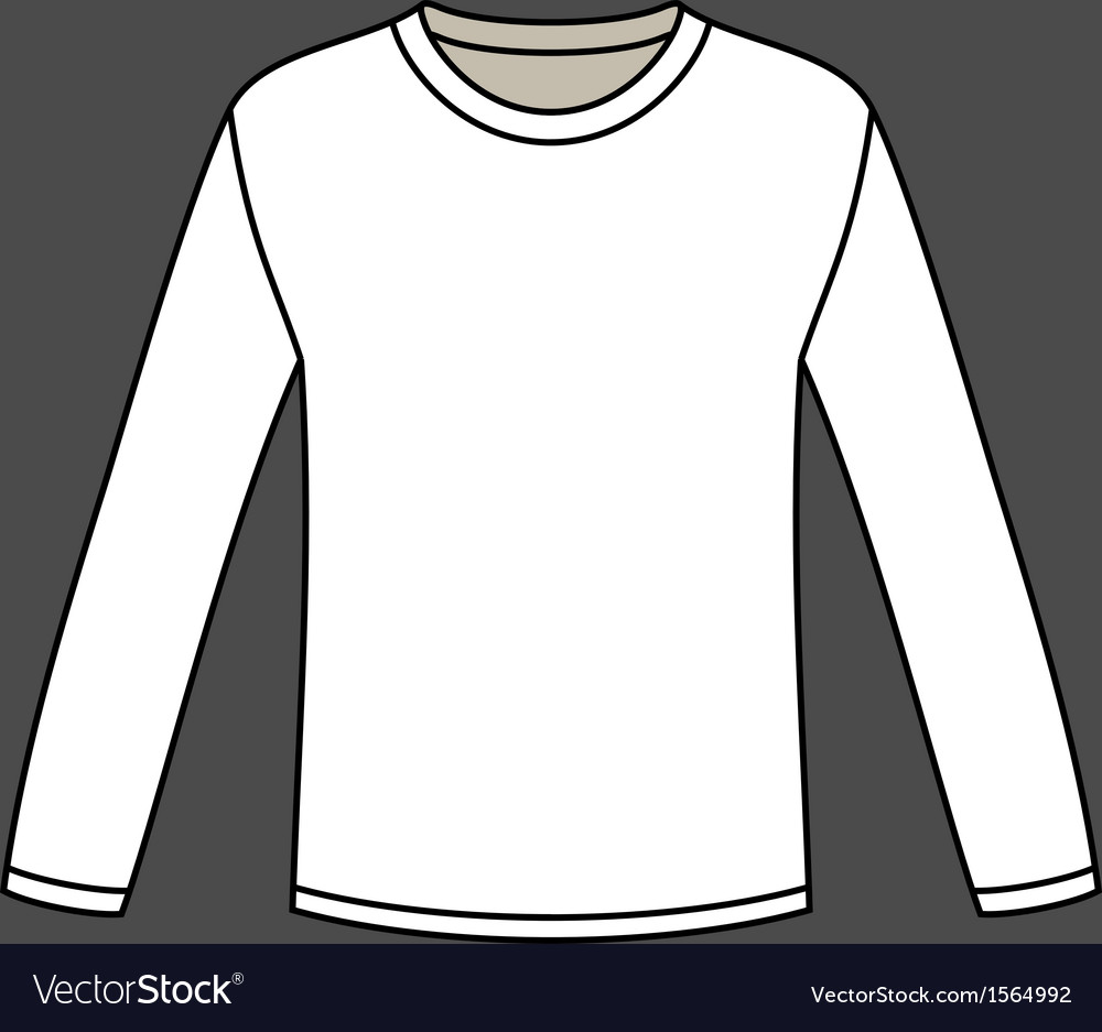 Blank Long-sleeved T-shirt Template Royalty Free Vector