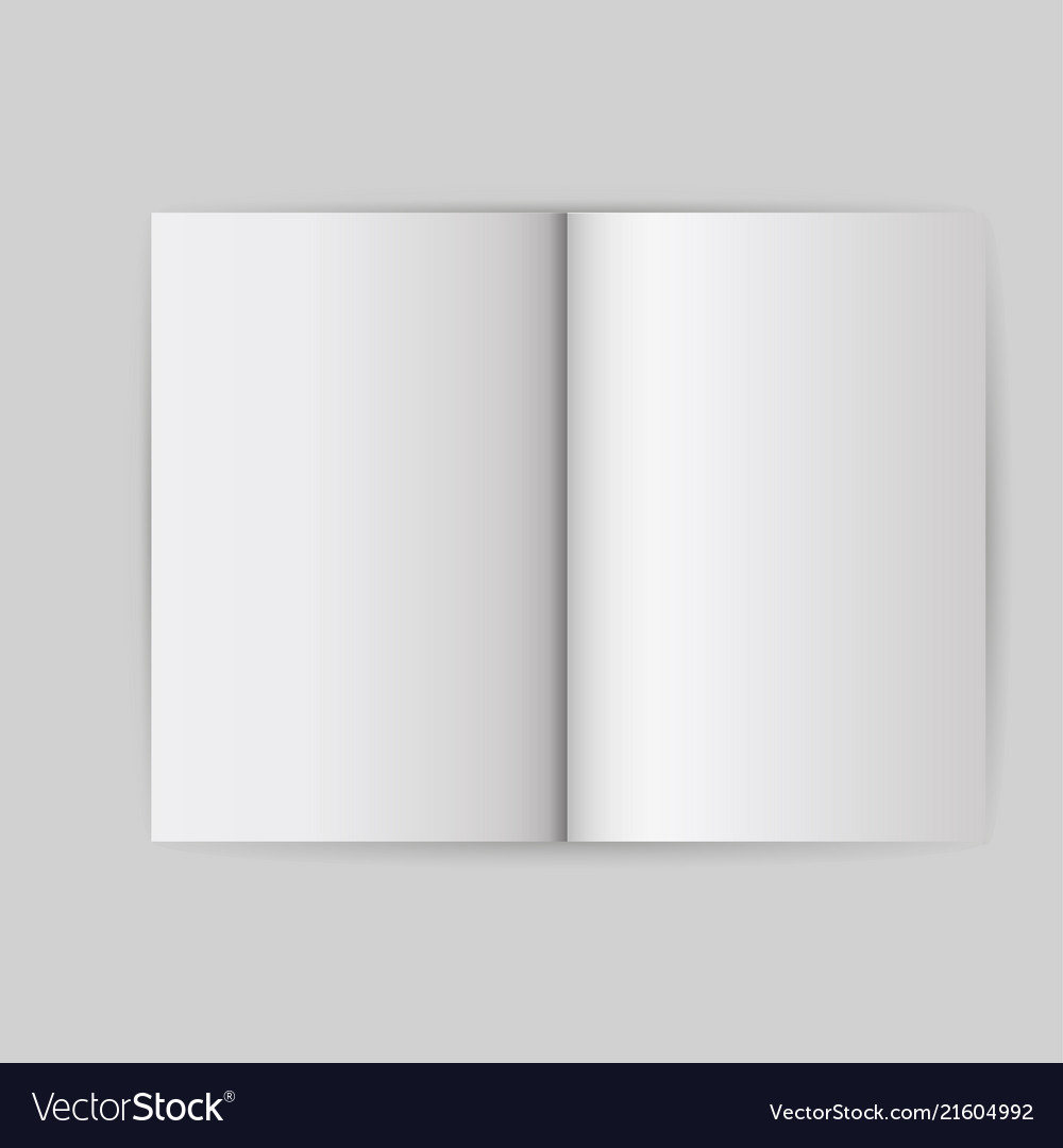Book white blank template object open cover mock