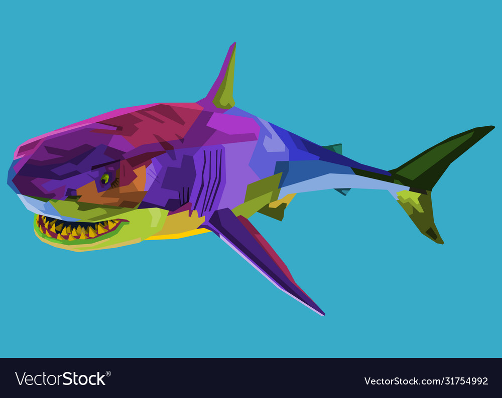 Colorful shark on pop art style
