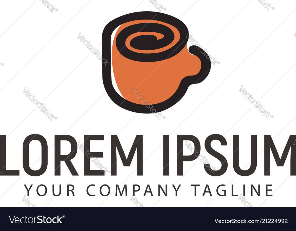 Cup coffee logo minimalist hand drawn design