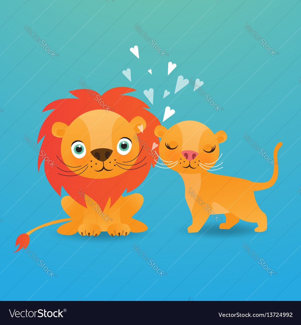 Cute lion cartoon on blue background
