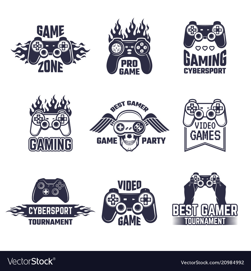 Cyber sport badges and labels pictures for gamers