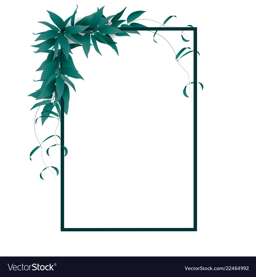 Frame with green leaves