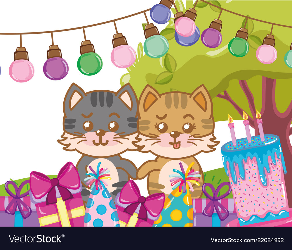 Happy Birthday Cats Royalty Free Vector Image