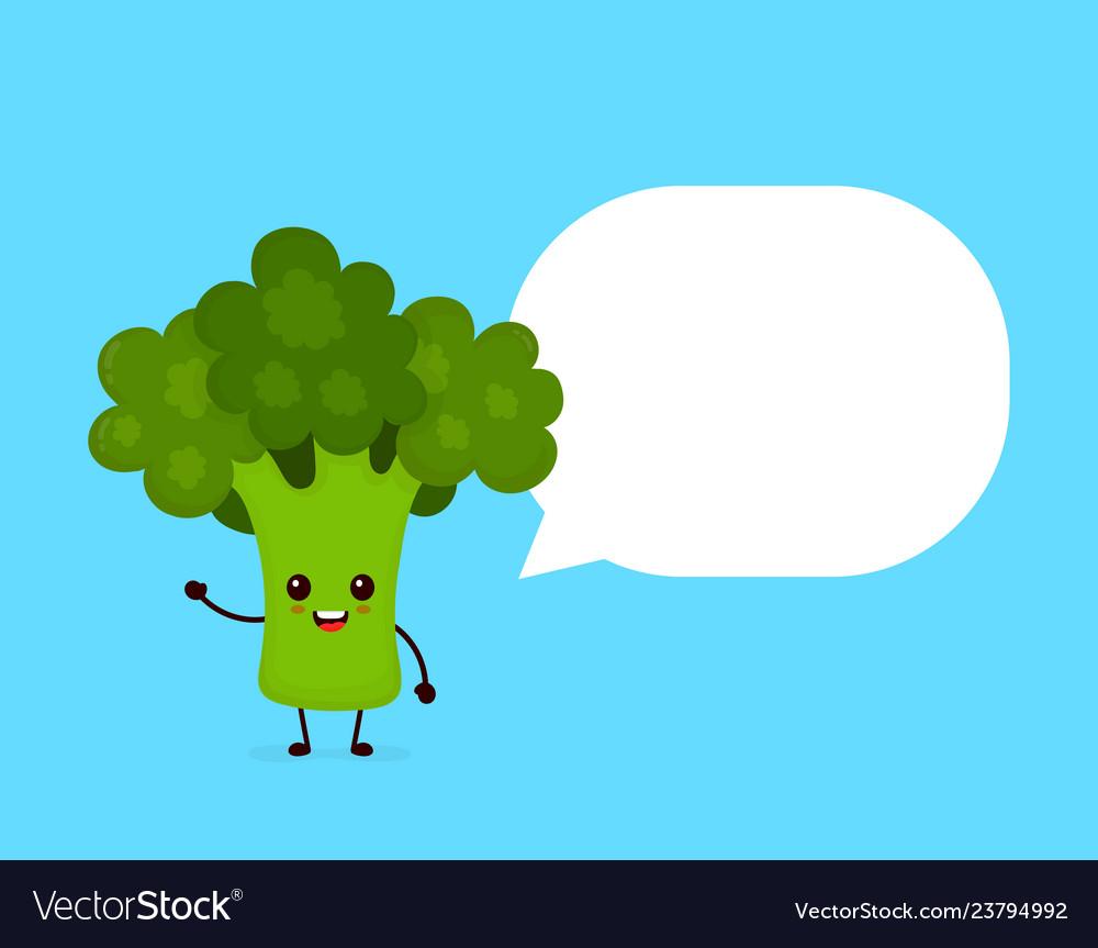 Happy smilling cute broccoli with speech bubble