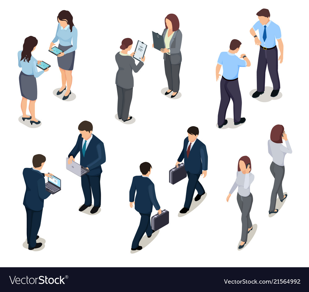 Isometric business people 3d men and women crowd