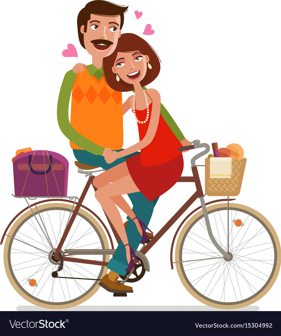 Loving couple riding on picnic by bicycle cartoon