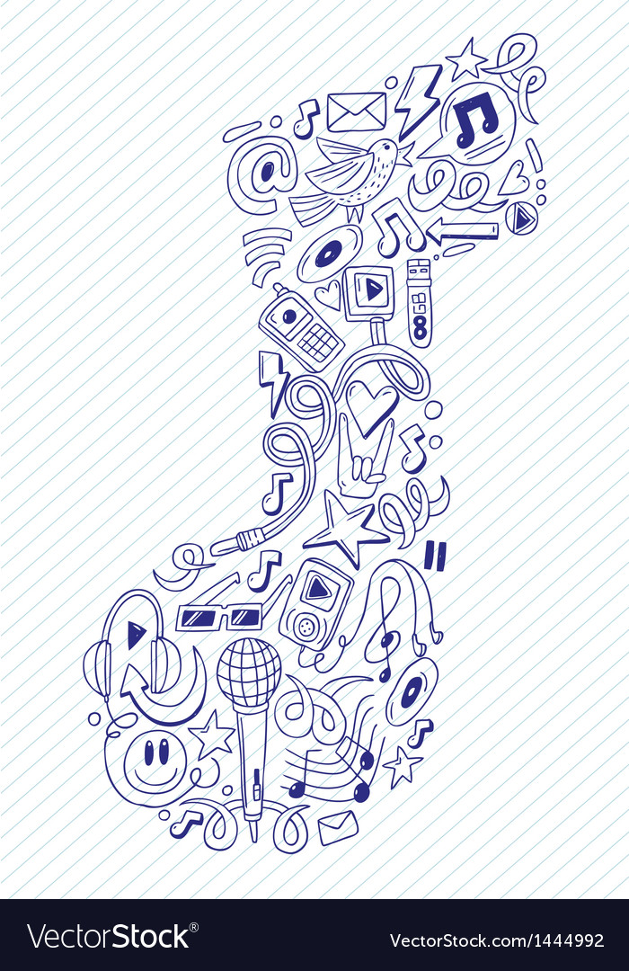 Music note- doodles collection vector image