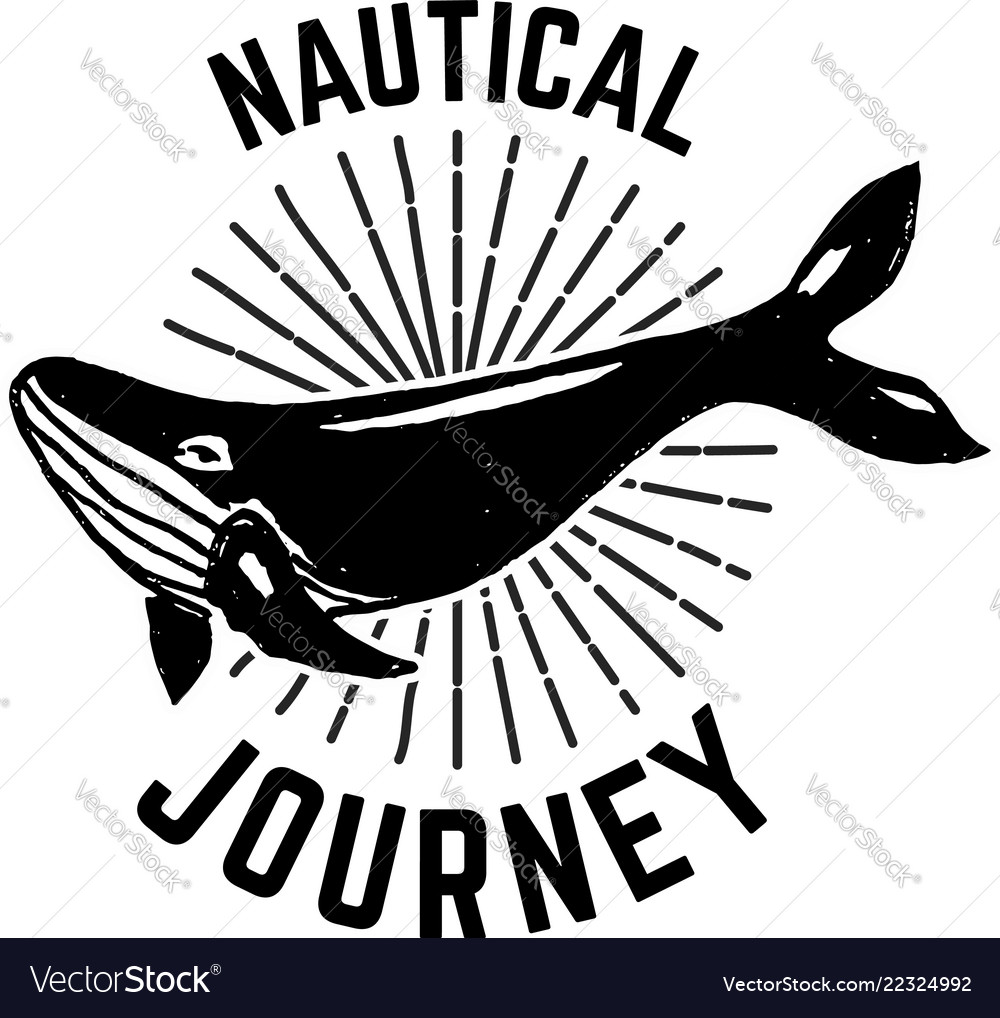 Nautical journey emblem template with whale
