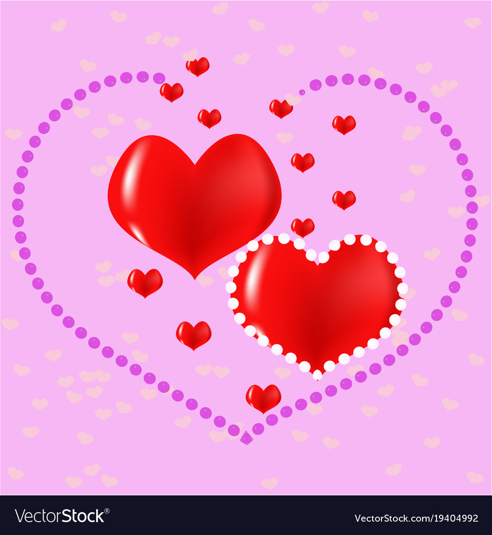 Red hearts love postcard