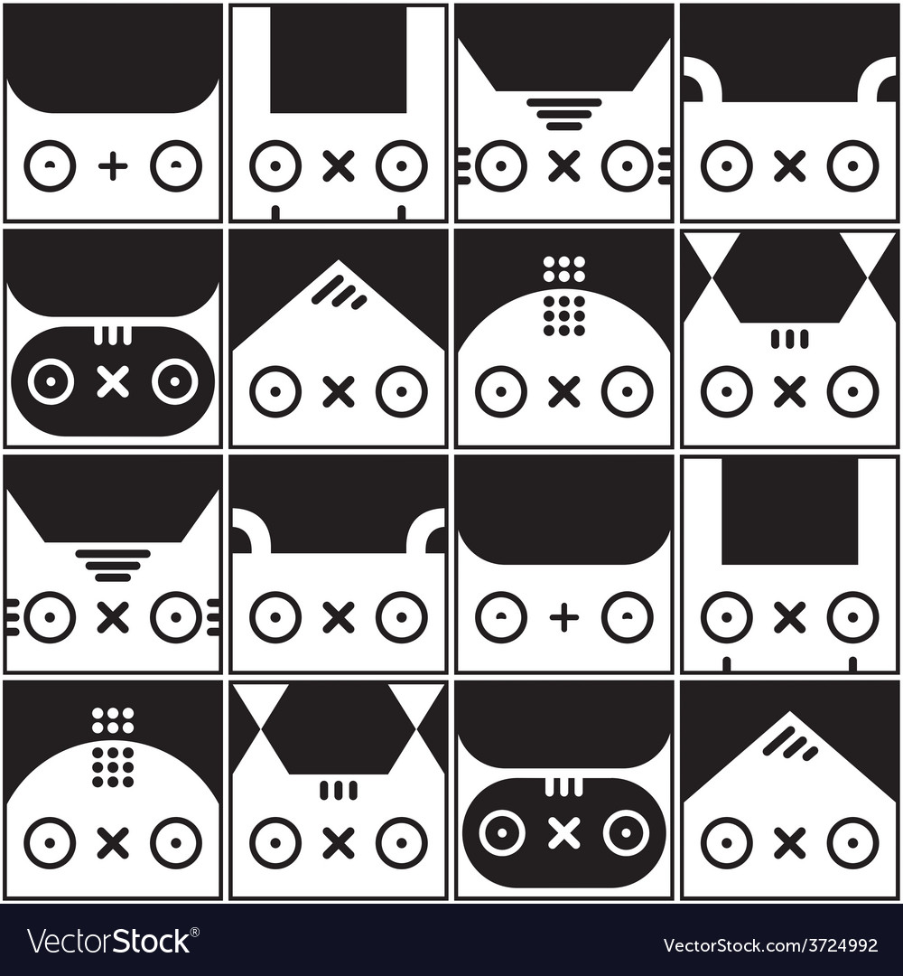 Seamless kawaii pattern with animals