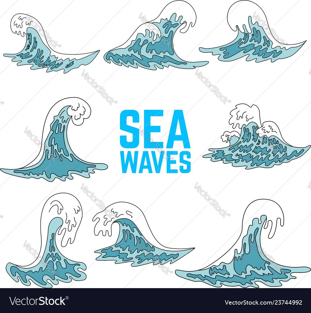 Set of sea waves design elements for poster card