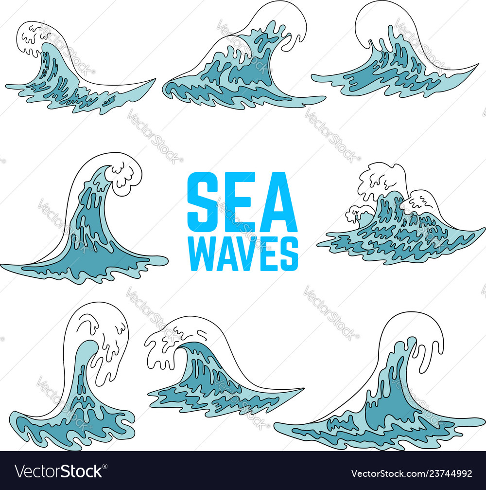 Set sea waves design elements for poster card vector