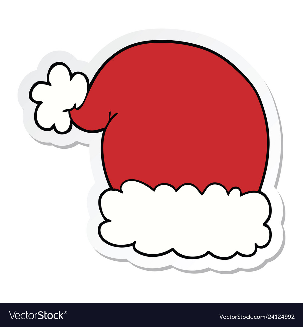 Sticker of a cartoon christmas hat