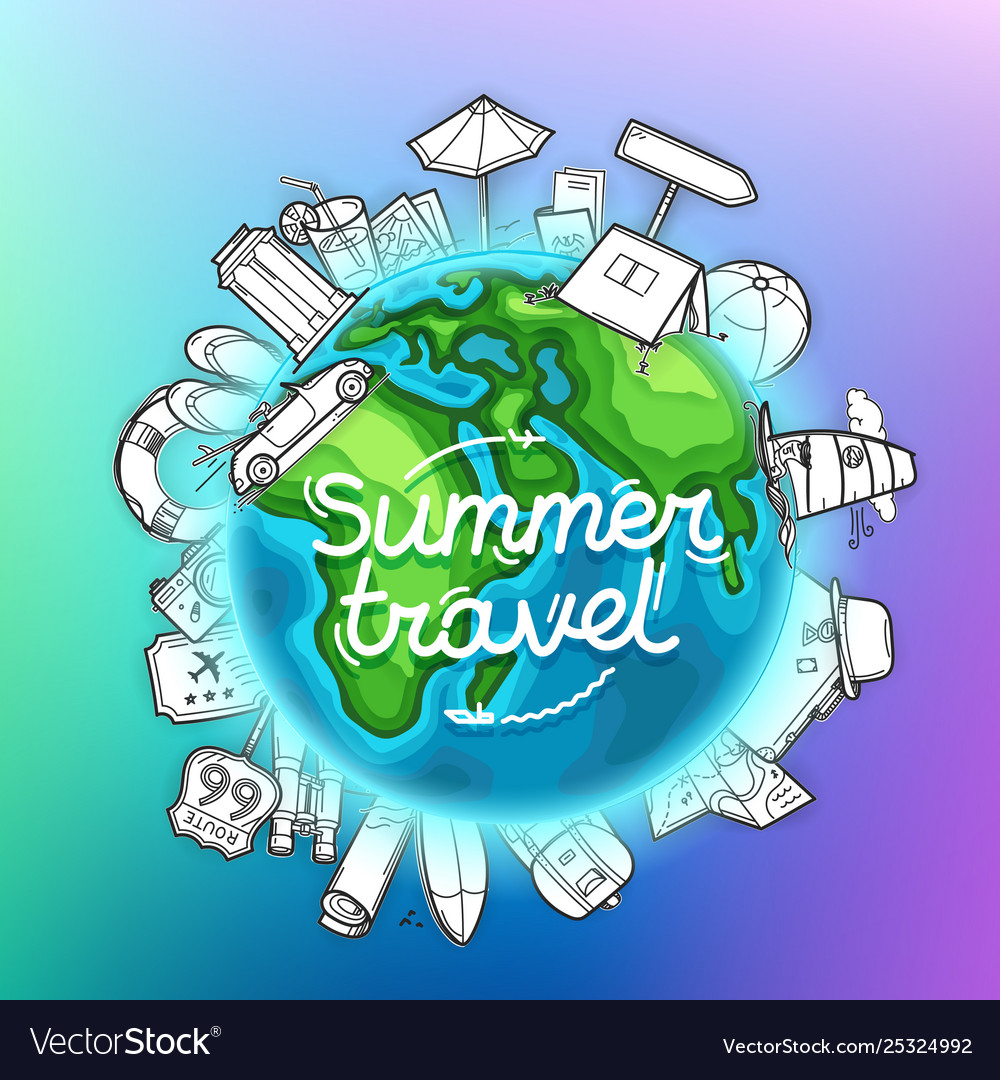 Summer travel banner travel concept
