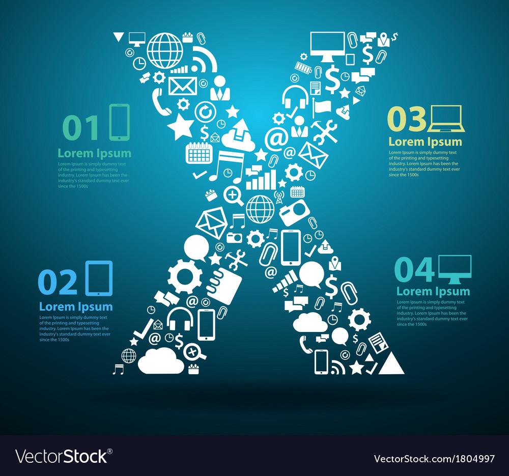 Application icons alphabet letters X design