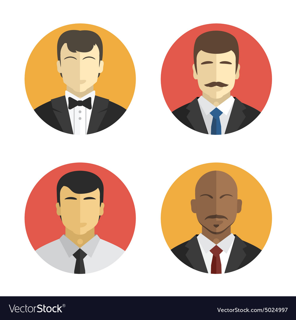 Avatars men in suits of different nationalities