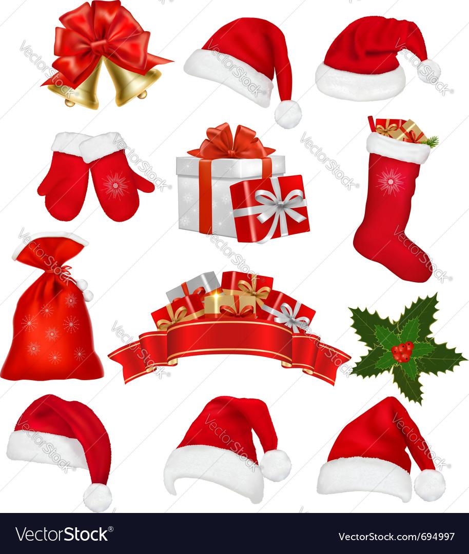 9336b1ca2cd3e Big set of red santa hats and clothing Royalty Free Vector