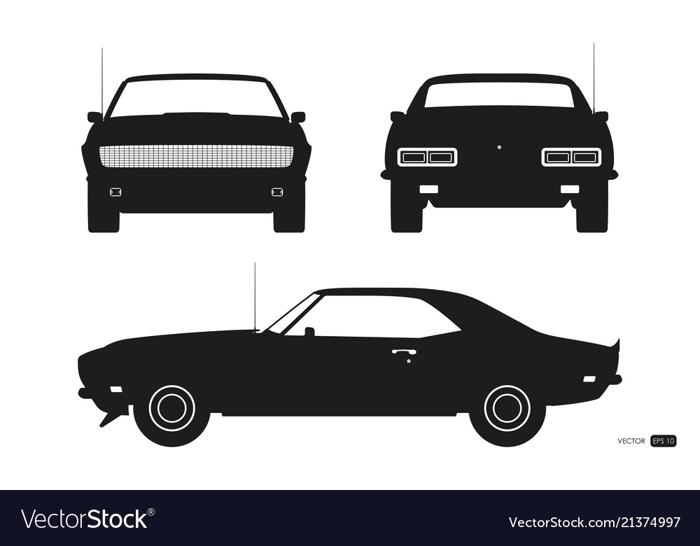 Black silhouette of retro car american automobile