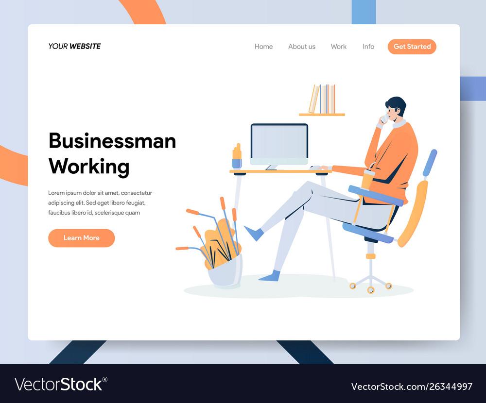 Businessman working on desk concept modern flat