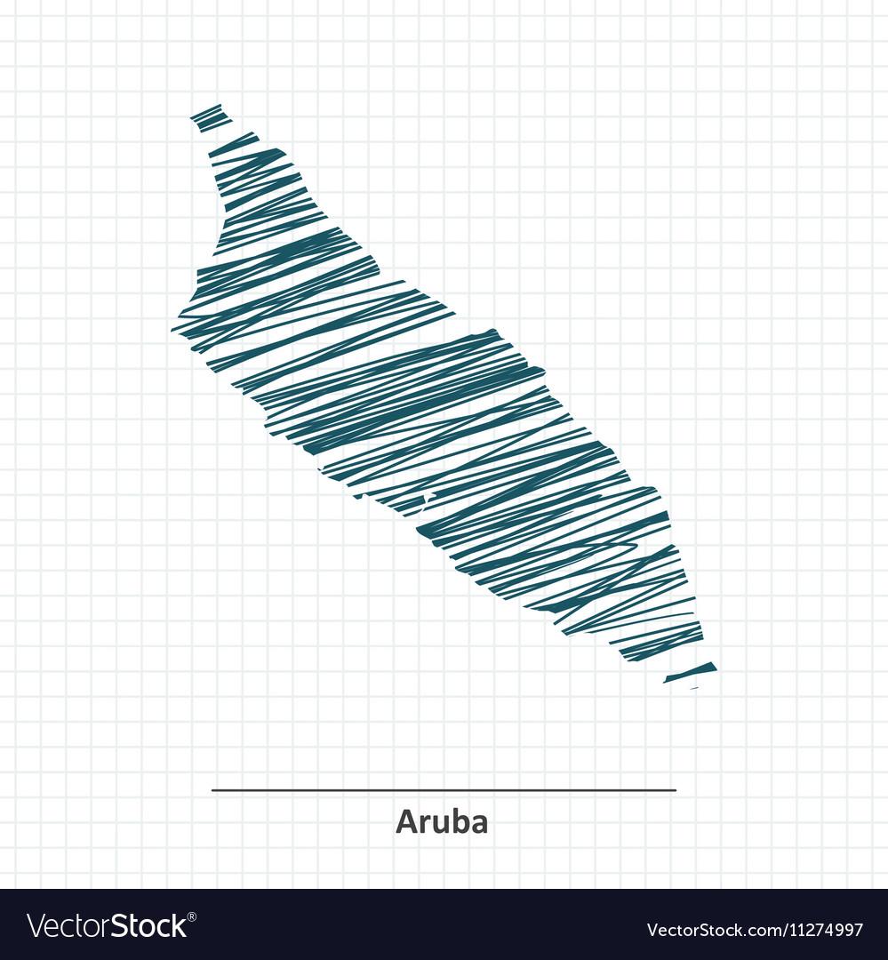 Doodle sketch of Aruba map vector image