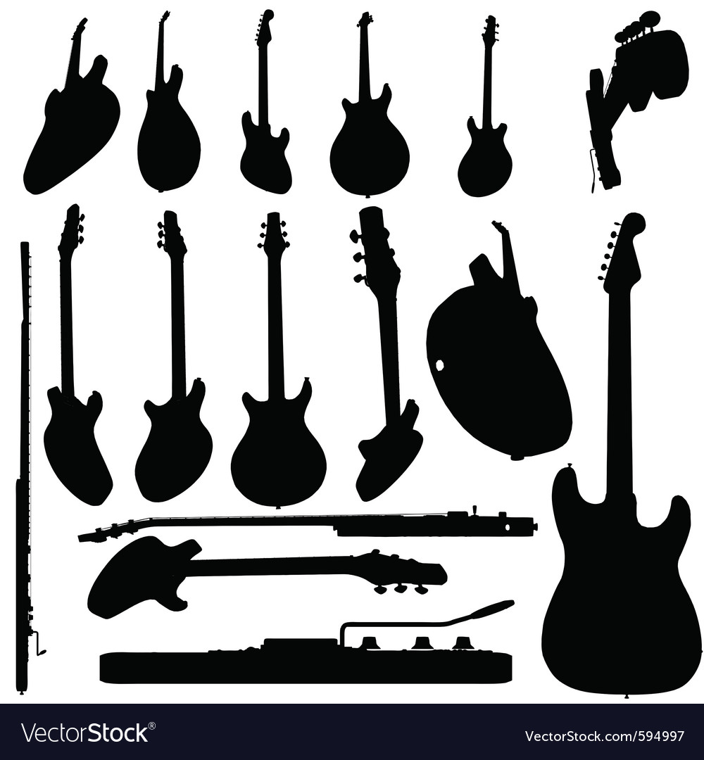 Electric guitar silhouette vector image