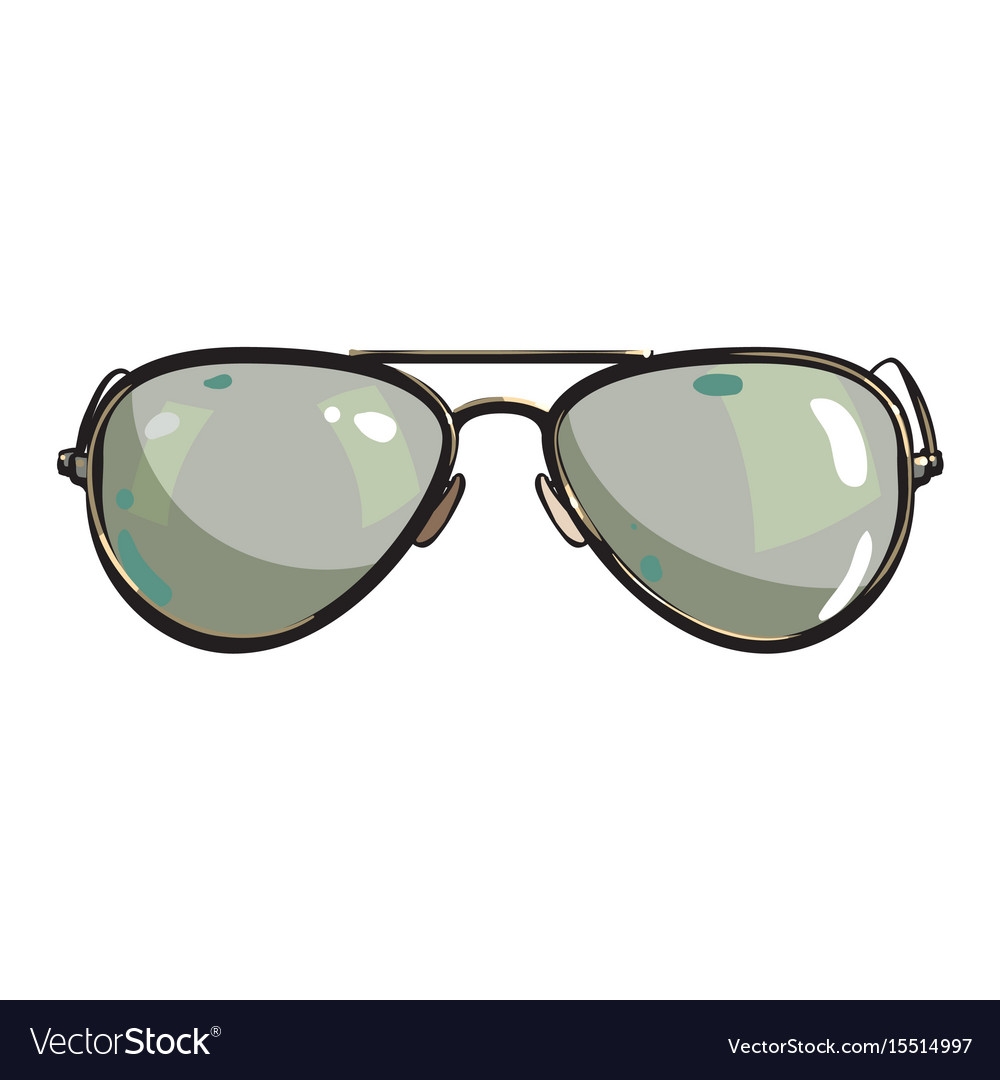 7b24edd5a8 Hand drawn aviator sunglasses in metal frame with Vector Image