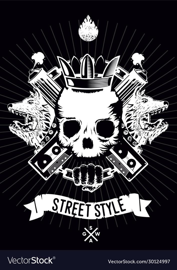 Hip-hop poster with skull gangster rap