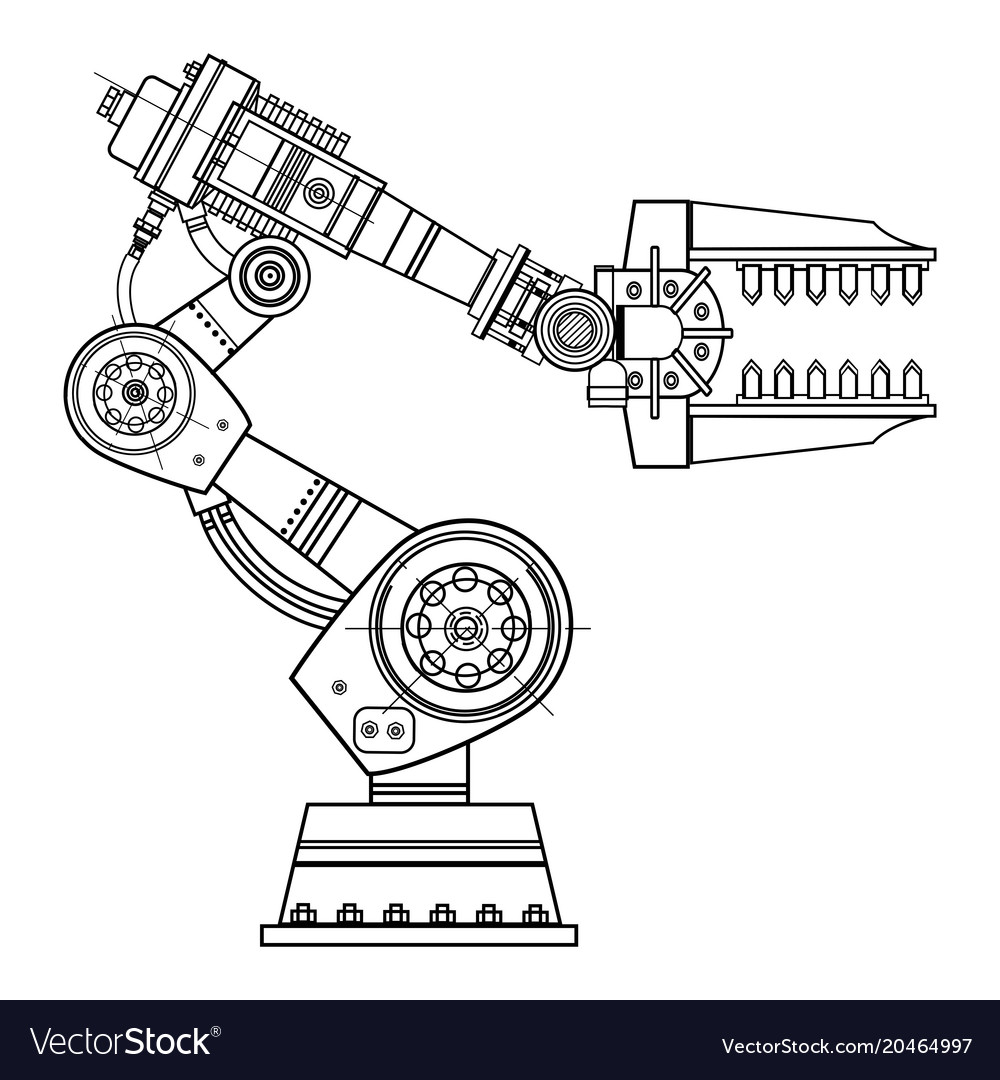industrial robot hand image on the isolated vector image Violin String Diagram