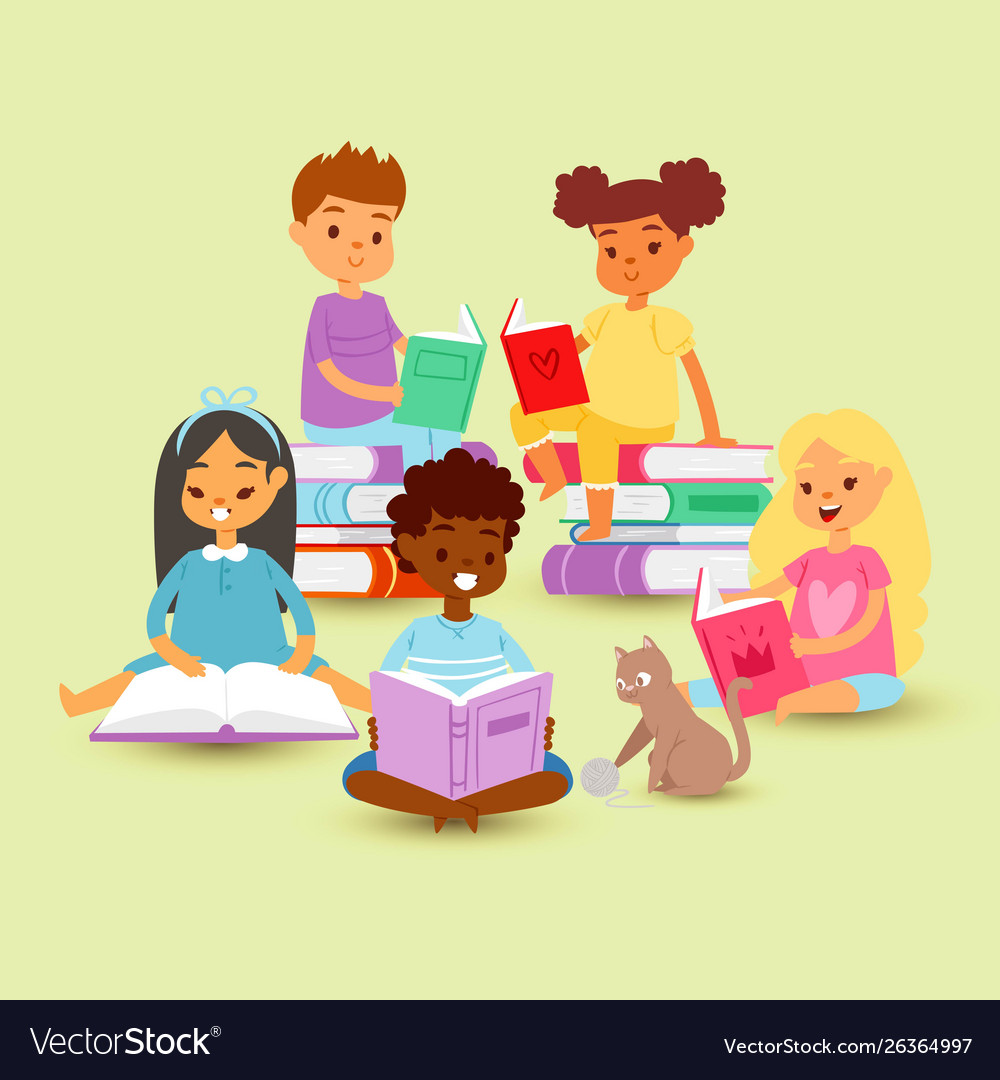 Kids reading in circle on a pile books with cat