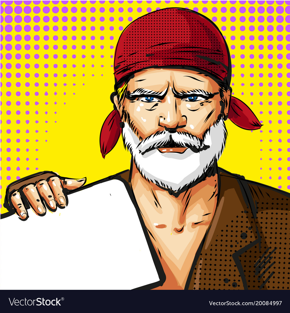 Pop art senior man wearing red bandana vector image