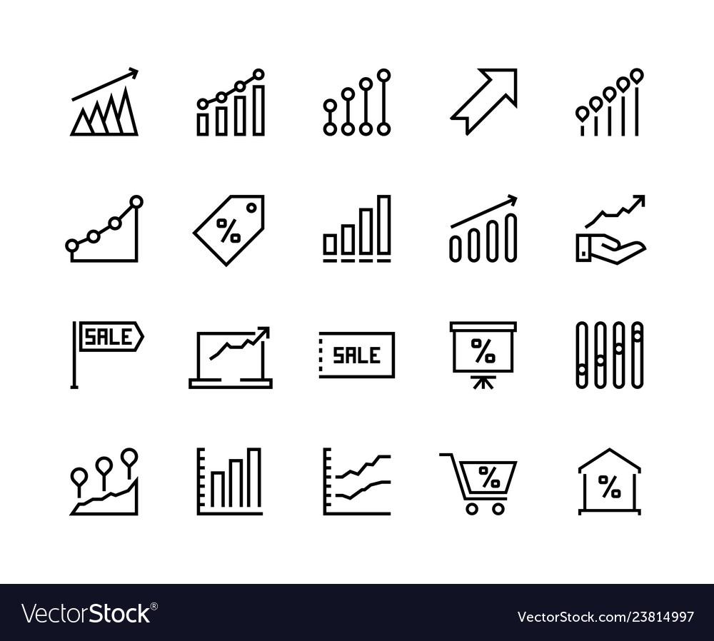 Sale Graph Line Icons Marketing Business Progress