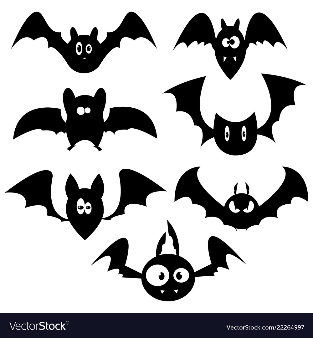 Set bats for halloween collection black