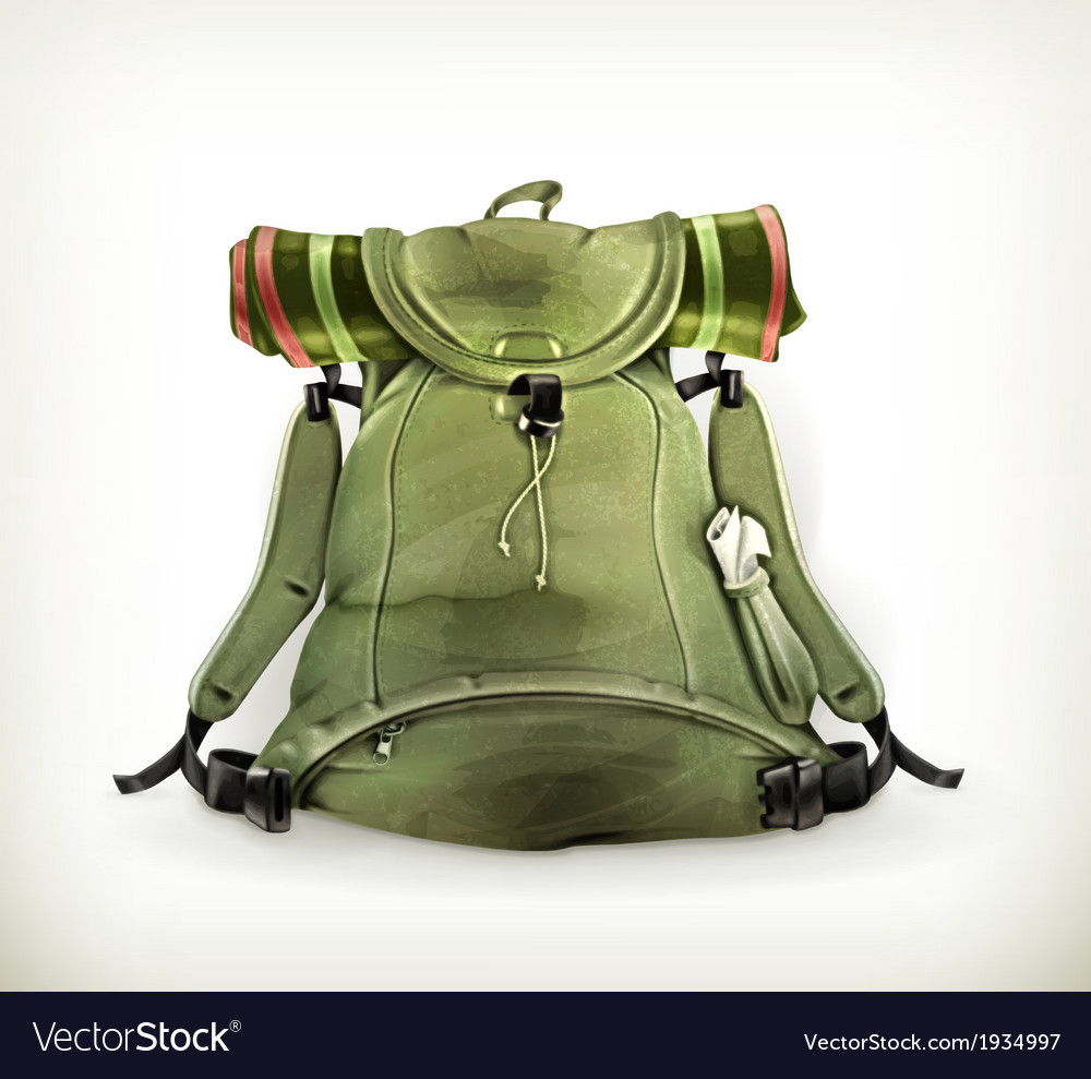 Travel backpack old style on white vector image